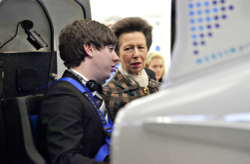 Poster - HRH The Princess Royal shown Coventry's flight simulator suite